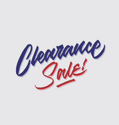 Clearance sale hand lettering typography vector