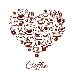 Coffeehouse cafe heart poster coffee cups vector