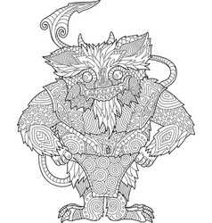 coloring book page with funny cartoon monster vector image