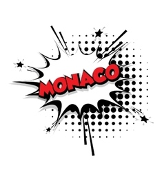 Comic text Monaco sound effects pop art vector image