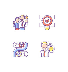 Company mission rgb color icons set vector
