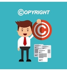 Copyright set flat icons vector