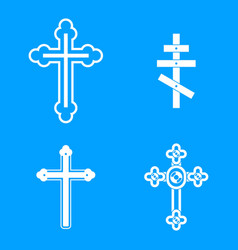 cross icon blue set vector image