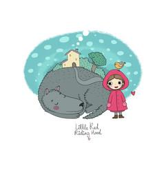 cute cartoon little girl red riding hood fairy vector image