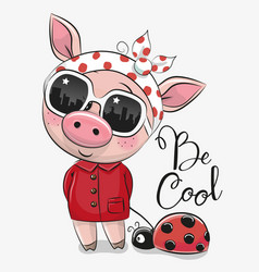 Cute pig with sun glasses vector