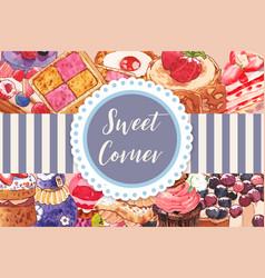 Dessert frame design with cake puffs cupcake pie vector