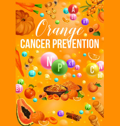 Detox color diet poster with orange day products vector