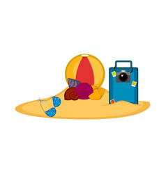different summer objects buried on the sand vector image