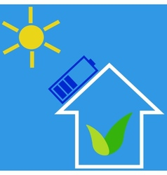 Eco house with solar battery vector image