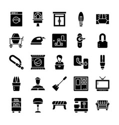 Family and home glyph icons pack vector