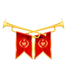 fanfare for winner - two crossed royal trumpets vector image