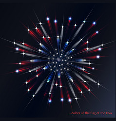 firework in the colors of the american flag vector image vector image
