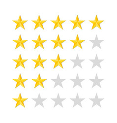 Five rating stars on white background top mark vector