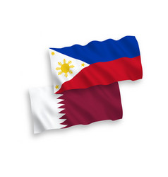 Flags qatar and philippines on a white vector