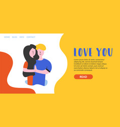 Flat banner love you landing page vector