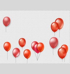 flying red balloons on transparent background vector image