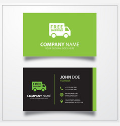Free shipping truck icon business card template vector