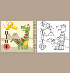 funny dinosaurs cartoon coloring page or book vector image