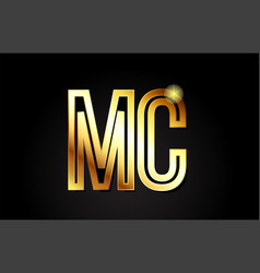 Gold alphabet letter mc m c logo combination icon vector