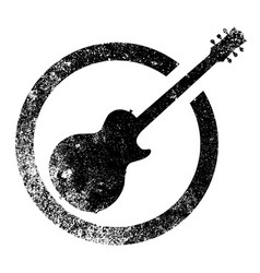 Guitar black ink stamp vector