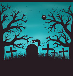 halloween night background in wood vector image