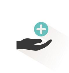 Hand with pharmacy cross flat icon with beige vector
