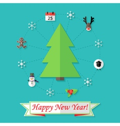 Happy New Year Card with Christmas Tree over Blue vector image