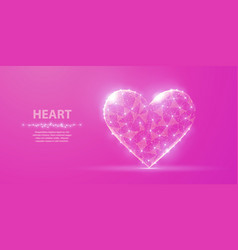 heart abstract polygonal wireframe heart on pink vector image