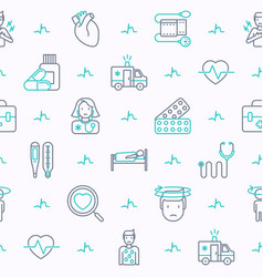 Heart attack seamless pattern with thin line icons vector