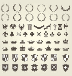 Heraldry kit of knight blazons and coat of arms vector