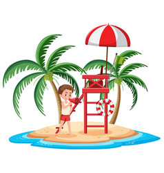 Isolated island with lifeguard vector