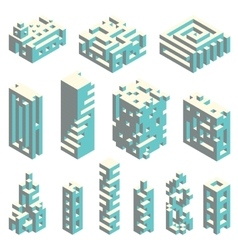Isometric cubes architecture vector image