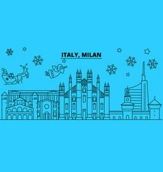 italy milan city winter holidays skyline merry vector image