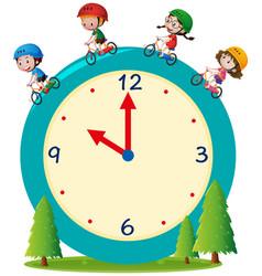 Kids riding bike on giant clock vector