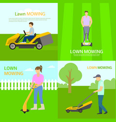 Lawnmower banner set flat style vector