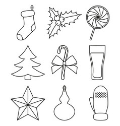 Line art black and white christmas elements vector