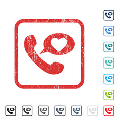 Love phone message icon rubber watermark vector