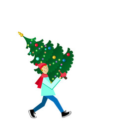 Man carrying a decorated fir-tree vector