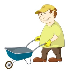 Man with wheelbarrow vector