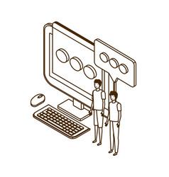 Men with desktop computer screen and email vector