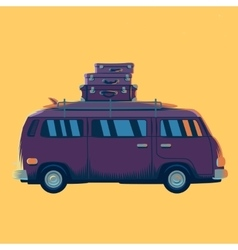 minivan with suitcases on the vector image
