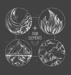 Modern magic witchcraft card with four elements vector
