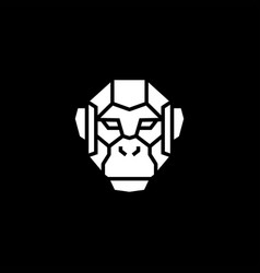 monkey chimp face head robot cyborg logo icon vector image