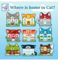 Nine icons of various cat houses vector