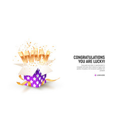 open textured violet box with confetti explosion vector image