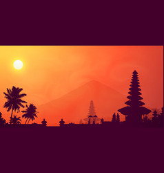 orange tropical sunset in bali island with dark vector image