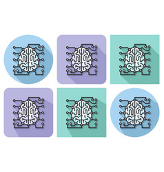 outlined icon of brain as central processing unit vector image