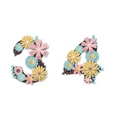 paper art flower digits beautiful romantic gentle vector image