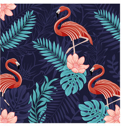 pattern animals-tropical flamingo vector image