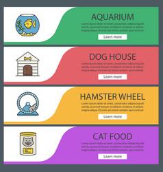 Pets suppplies web banner templates set vector